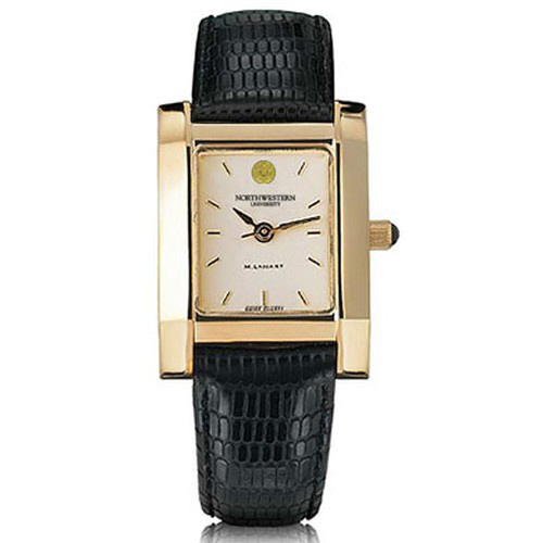 Northwestern Women 39 S Gold Quad Watch With Leather Strap